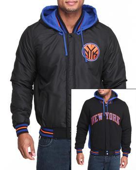 NBA, MLB, NFL Gear - New York Knicks Varsity Fleece  Reversible Jacket w/ removable Hoodie