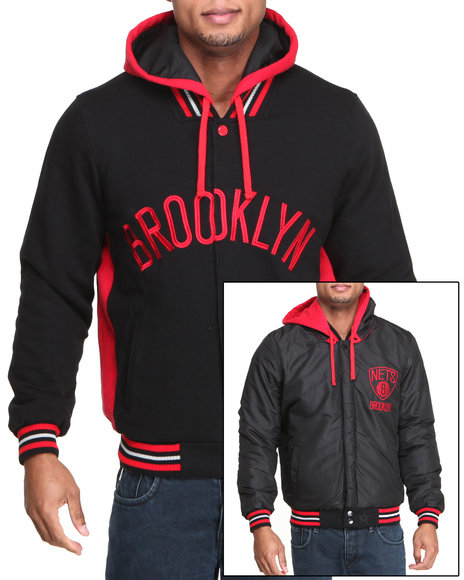 Nba, Mlb, Nfl Gear - Men Red Brooklyn Nets Varsity Fleece  Reversible Jacket W/ Removable Hoodie