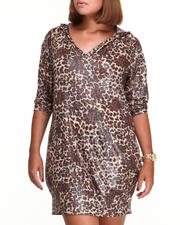 Women - Liquid Animal Printed Hoodie Dress (Plus)