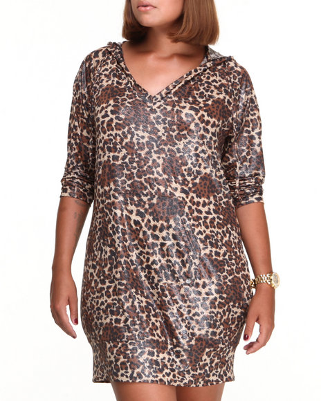 Apple Bottoms - Women Animal Print Liquid Animal Printed Hoodie Dress (Plus)