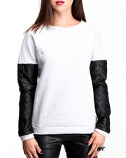 Cyber Monday Deals - SWEATSHIRT W/ FAUX LEATHER SLEEVES