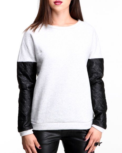 Glamorous - Women Light Grey Sweatshirt W/ Faux Leather Sleeves