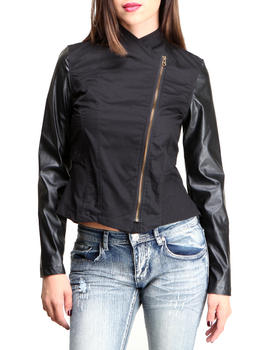 Fashion Lab - Mixed Fabrication Twill & Vegan Leather Sleeves Light Weight Jacket