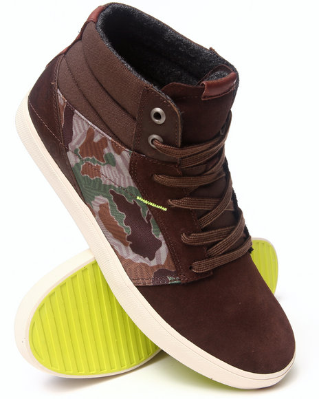 Volcom - Grimm Mid Camouflage Leather/Nylon Sneakers