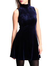 Women - VELVET MOCK NECK SKATER DRESS