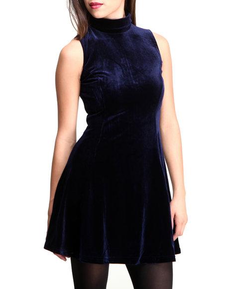 Glamorous - Women Blue Velvet Mock Neck Skater Dress - $24.99