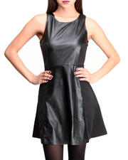 Black Friday Deals - FAUX LEATHER SKATER DRESS