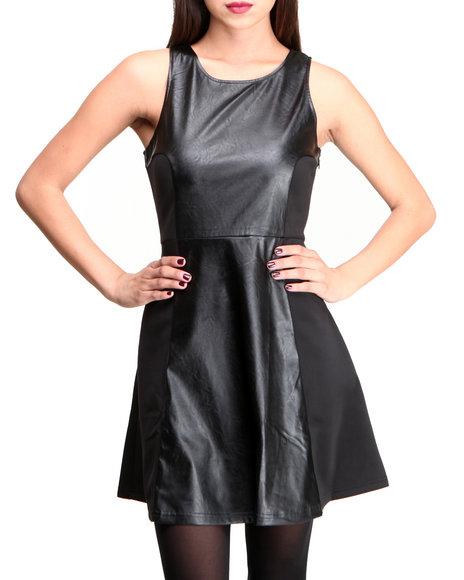 Glamorous - Women Black Faux Leather Skater Dress