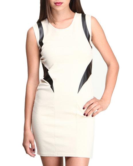 Fashion Lab - Women Cream Sol Body Con Dress W/Vegan Leather Trim