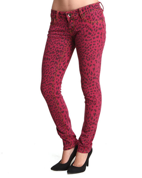 Dollhouse Animal Print,Red Cheetah Print Skinny Jean