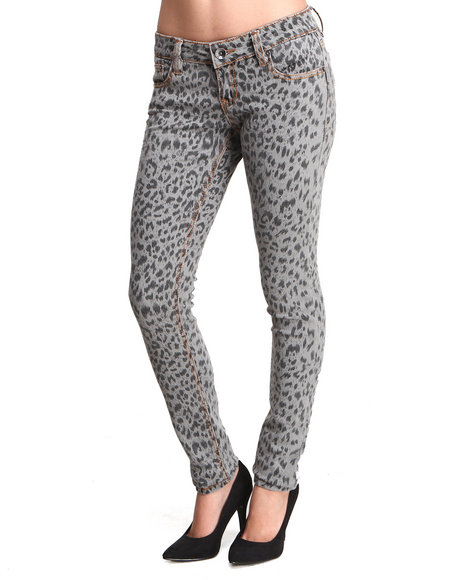 Dollhouse Animal Print,Grey Cheetah Print Skinny Jean