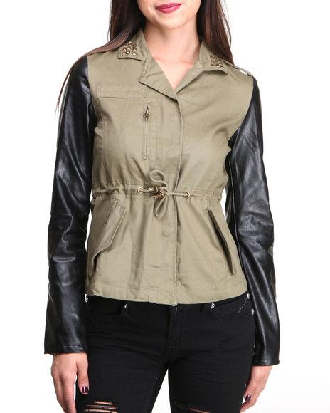 Fashion Lab - Women Green Anorak W/Studded Collar