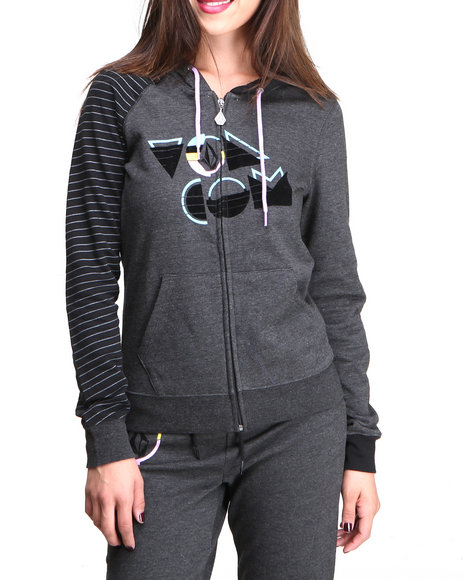 Volcom - Women Grey Future Fun Fleece Zip Hoodie