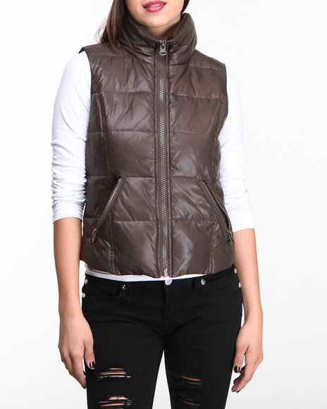 Nine West - Women Olive Funnel Neck Down Vest