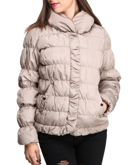Nine West - Women Tan Hot Quilted Short Bomber Coat
