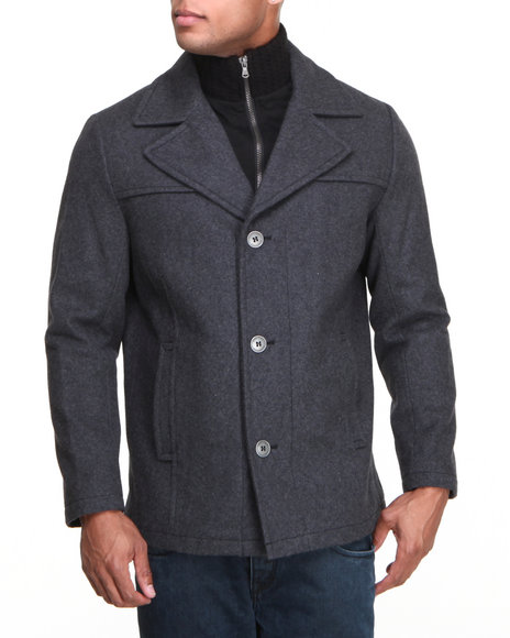 Kenneth Cole Grey Classic Pea Coat W/ Interior Bib