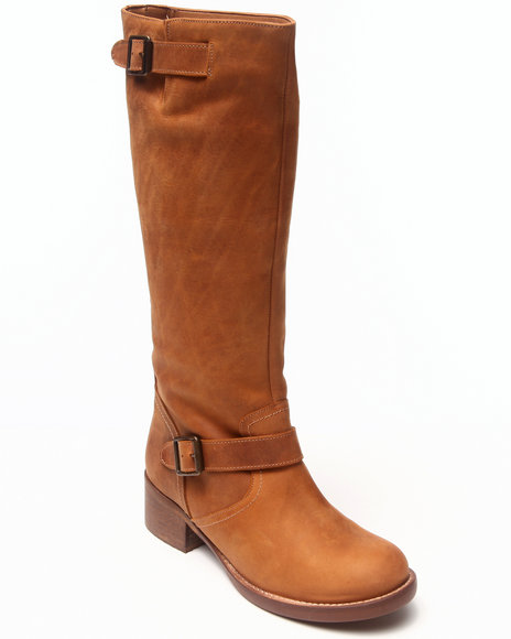 KENSIE Tan Neverland Buckle Trim Distressed Tall Leather Boot