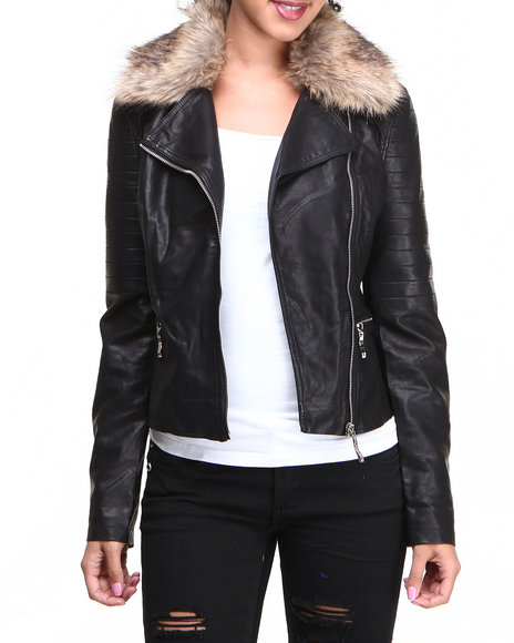 Glamorous - Women Black Motorcycle Jacket With Fur Collar