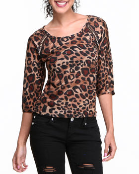 Almost Famous - Chain Trim Animal Knit Top