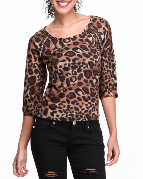Almost Famous Animal Print Chain Trim Animal Knit Top