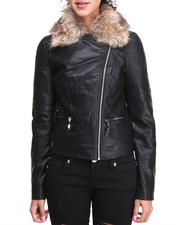 Women - MOTORCYCLE JACKET WITH FUR COLLAR