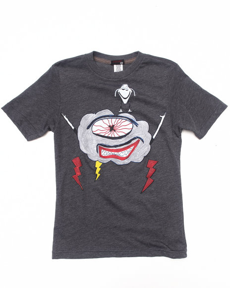 Volcom Boys Charcoal Kid Creature Lightning Tee (8-20)