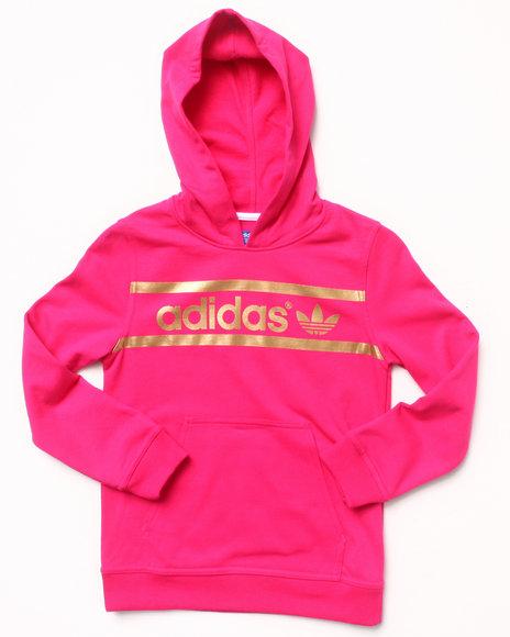 Adidas - Girls Pink Heritage Logo Hoodie