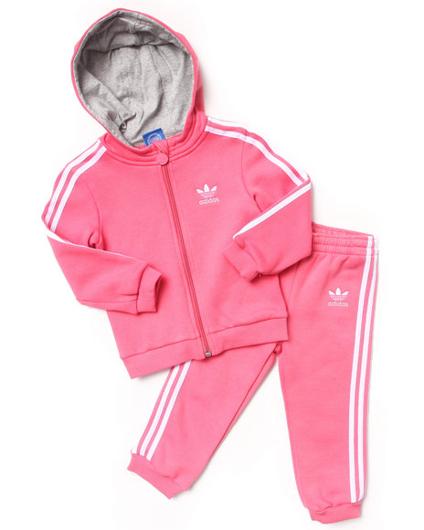 Adidas - Girls Pink Hooded Flock Tracksuit