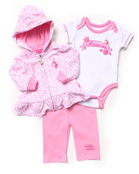 Baby Phat - Girls Pink 3 Pc Set - Hoodie, Bodysuit & Pants (Newborn)