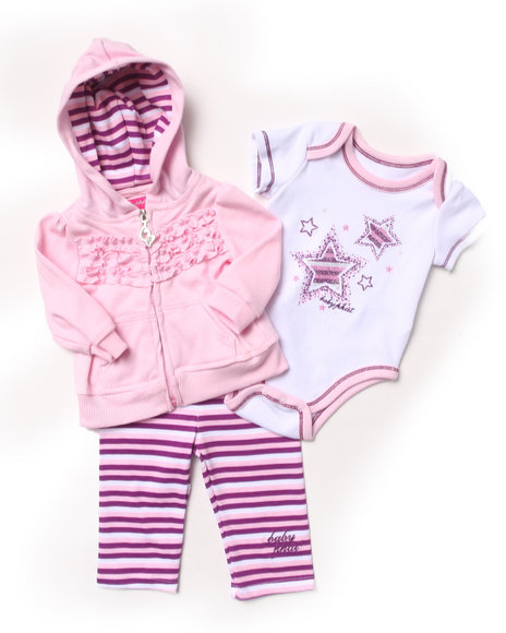 Baby Phat - Girls Purple 3 Pc Set - Hoodie, Bodysuit, & Pants (Newborn)