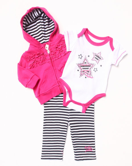 Baby Phat - Girls Dark Pink 3 Pc Set - Hoodie, Bodysuit, & Pants (Newborn)