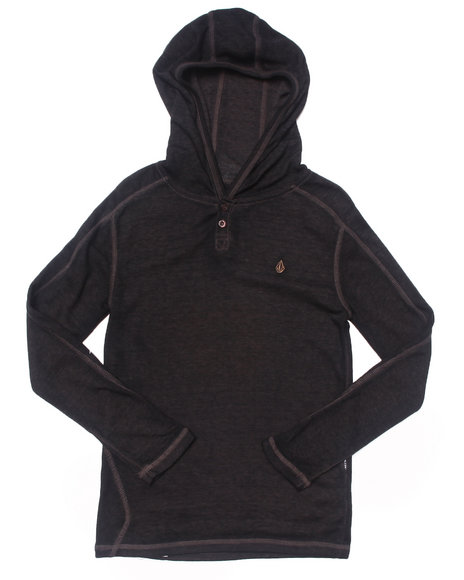 Volcom Boys Black Burnt Burnout Hooded Thermal (8-20)