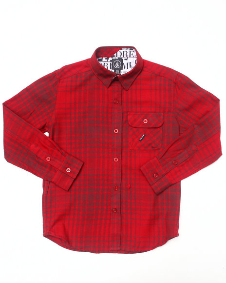 Volcom - Boys Red L/S Donner Woven (8-20)