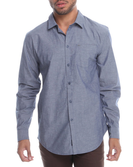 KR3W Blue Fuego Speckle Chambray L/S Button-Down