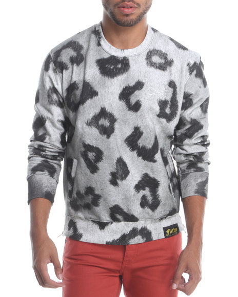 Filthy Dripped - Men Grey Cheetah Clouds Crew Sweatshirt