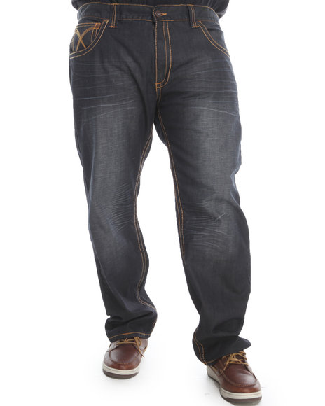 Pelle Pelle Medium Wash Glacier Wash Studded Rebel Denim Jeans (Big & Tall)