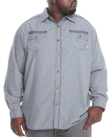 Mo7 - Men Grey Solid Textured L/S Button-Down Shirt