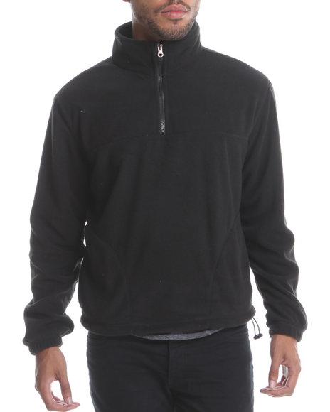 Basic Essentials Men Polar Fleece Quarter Zip Top Black Large