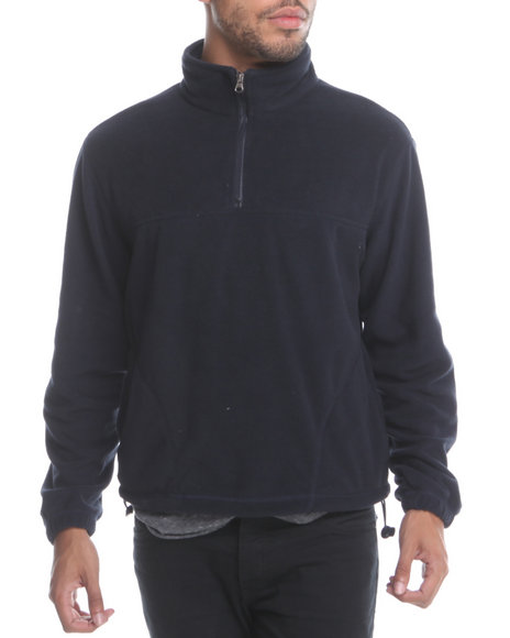 Basic Essentials Men Polar Fleece Quarter Zip Top Navy Large