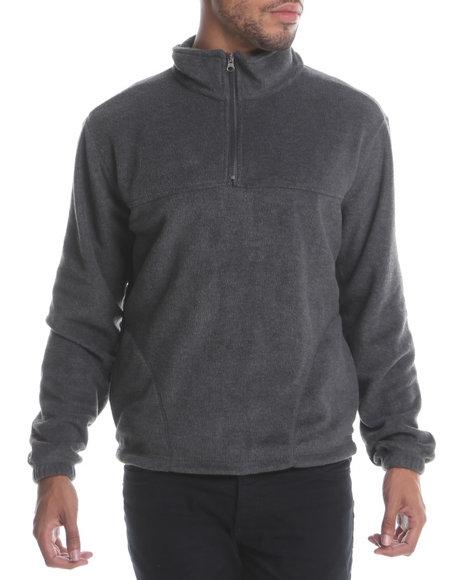 Basic Essentials Men Polar Fleece Quarter Zip Top Charcoal Large