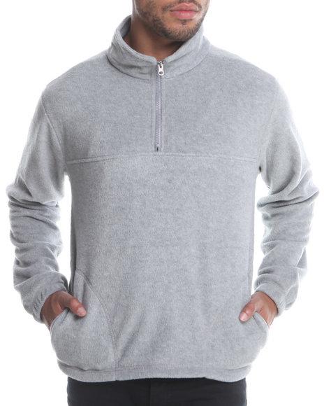 Basic Essentials Men Polar Fleece Quarter Zip Top Grey Large