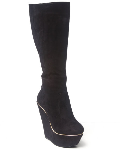 Fashion Lab - Women Black Numeria Tall Wedge Boot