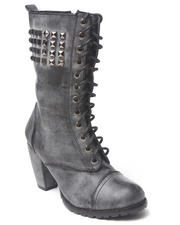 Women - Heeled studded laceup boot