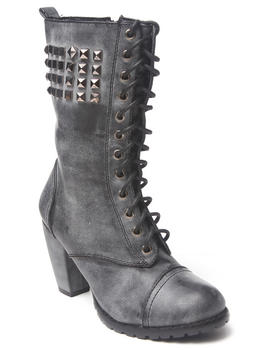 Fashion Lab - Heeled studded laceup boot