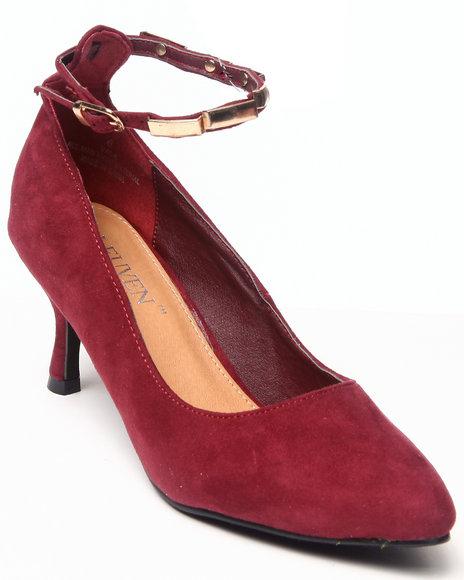 Fashion Lab Red Vala Kitten Pointy Heel W/Ankle Strap