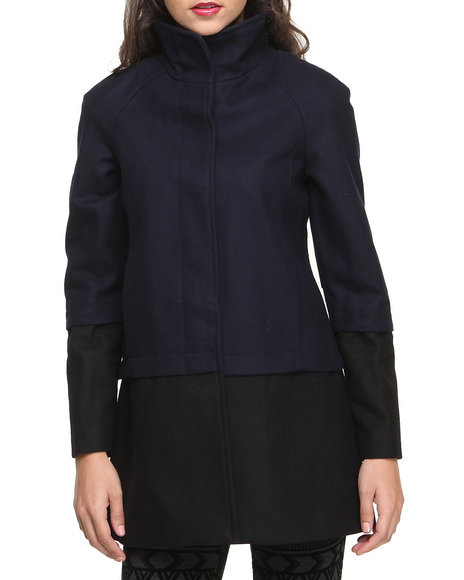 Nine West Black,Navy Colorblock Funnel Neck Wool Coat
