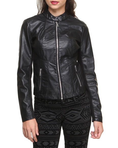 Kenneth Cole Women Vegan Leather Zip Front Fitted Moto Jacket Black Small
