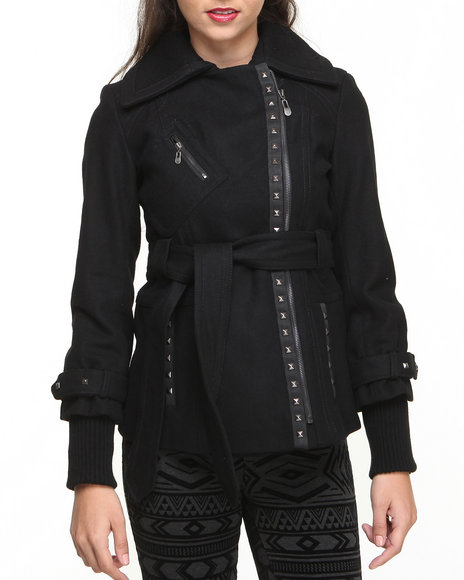 Kensie - Women Black Grommet Trim Wool Coat