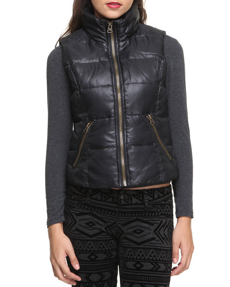 Nine West - Women Black Funnel Neck Down Zip Trim Vest