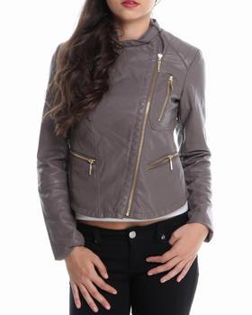KENSIE - Asymmetrical Zip Trim Vegan Leather Moto Jacket